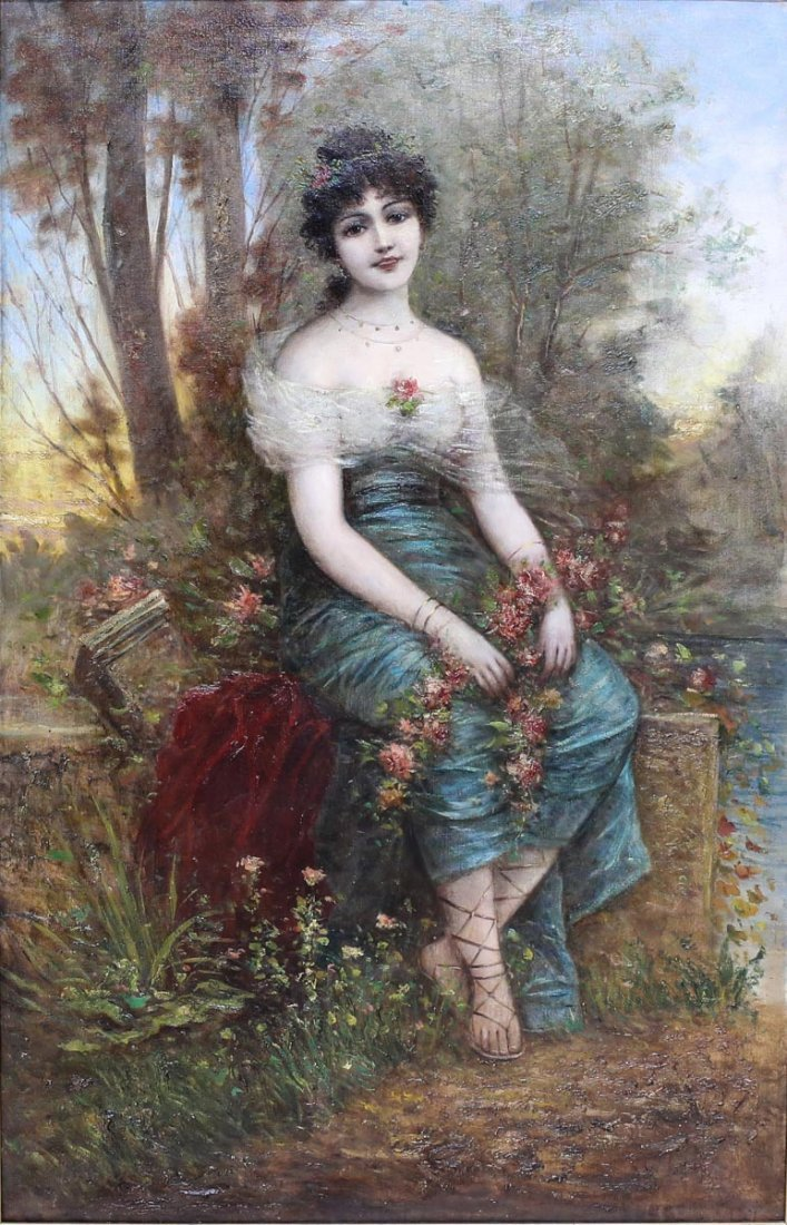 Oil Painting of a young lady, attributed to Hans Zatzka