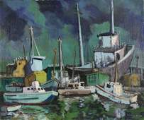 """Dorothy Sklar oil on canvas """"Boat Mirage"""""""