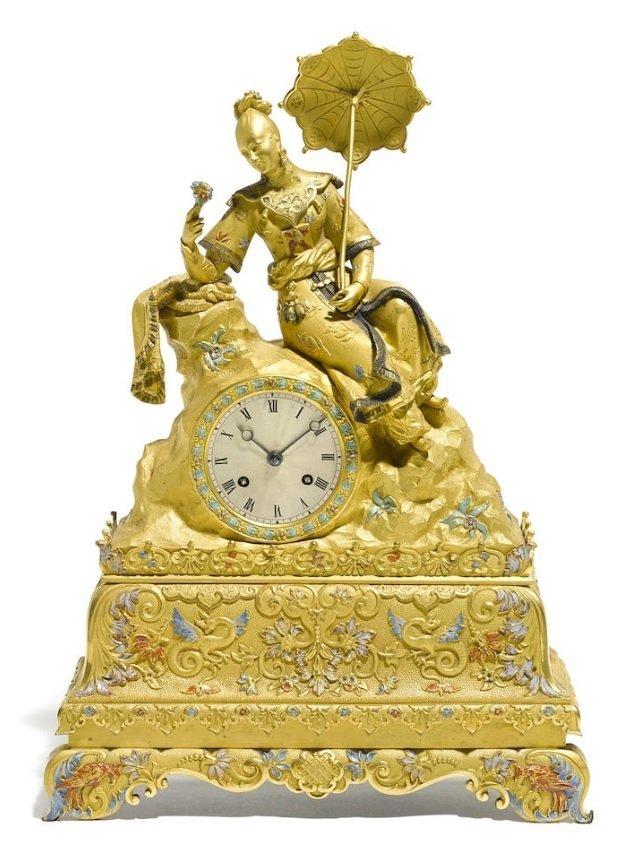 Louis Philippe Gilt Bronze & Enamel Mantel Clock