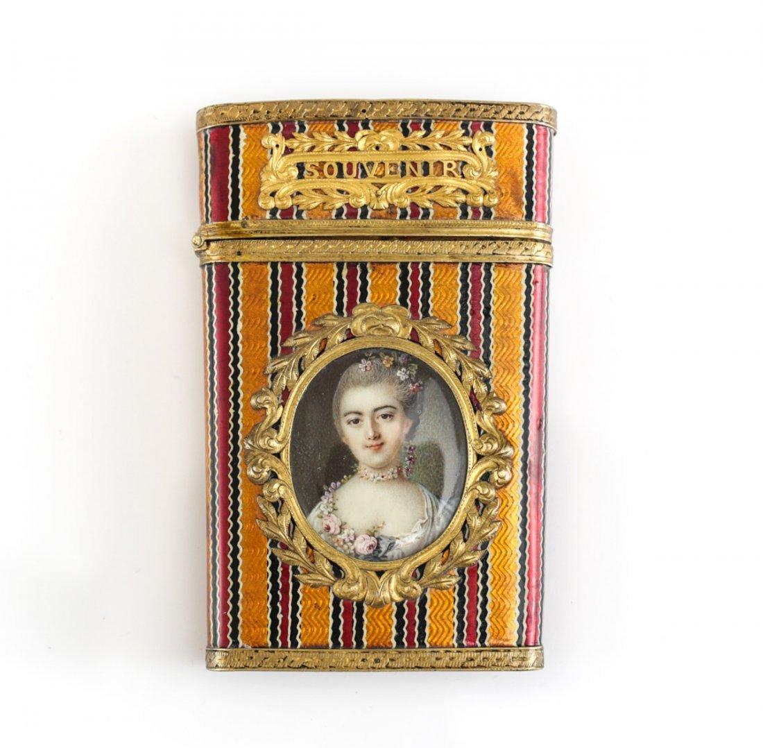 14k Gold Enamel & Portrait Miniature Carnet de Bal