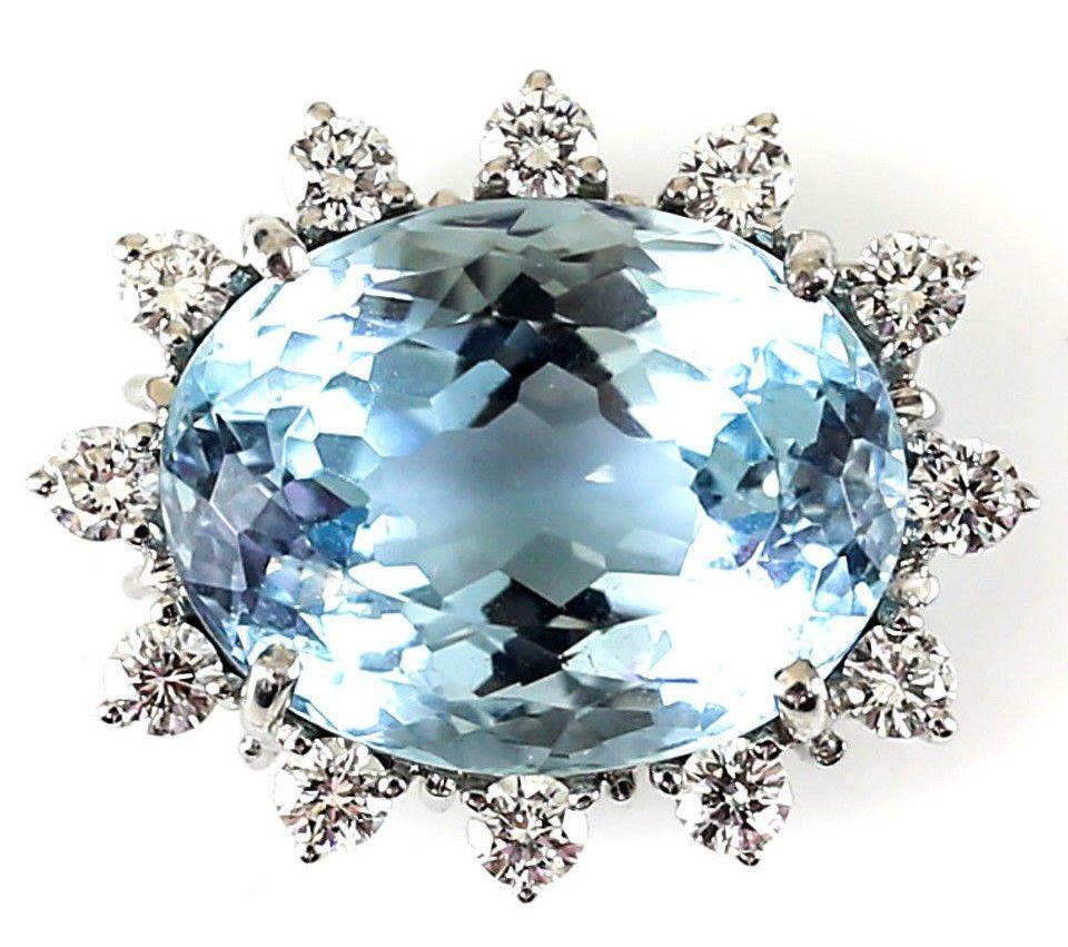 18k White Gold Large Aquamarine & Diamond Pendant