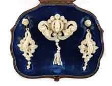 Tiffany & Co Seed Pearl Earrings & Brooch