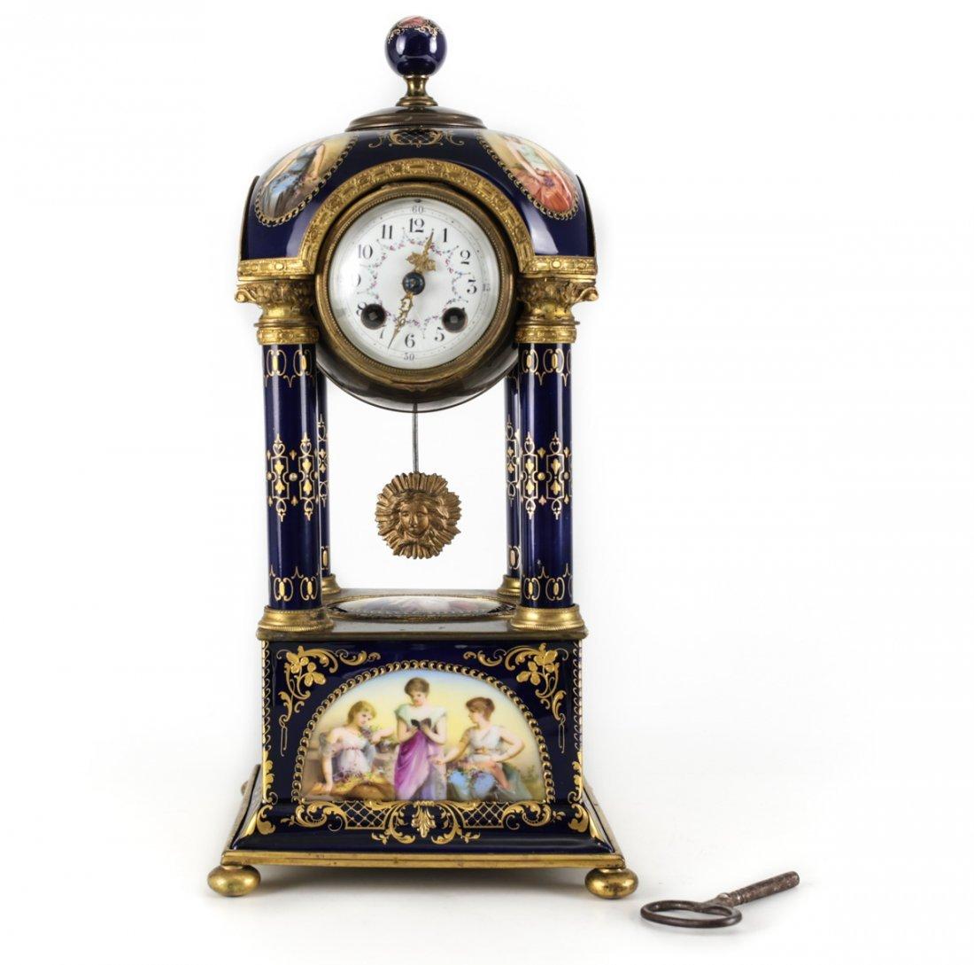 Antique Royal Vienna Porcelain Mantel Clock