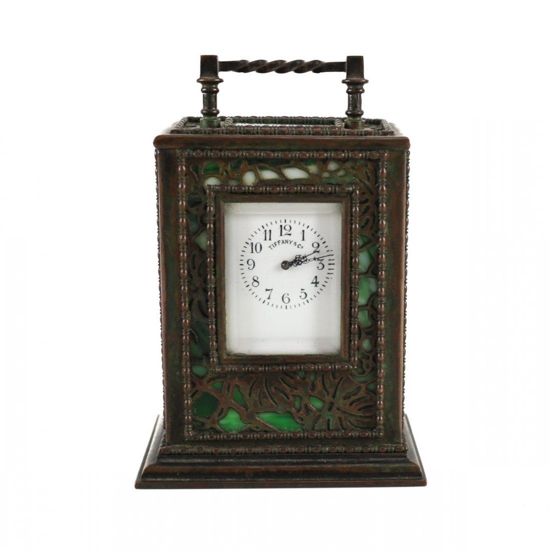 Tiffany Studios Bronze Carriage Clock Grapevine