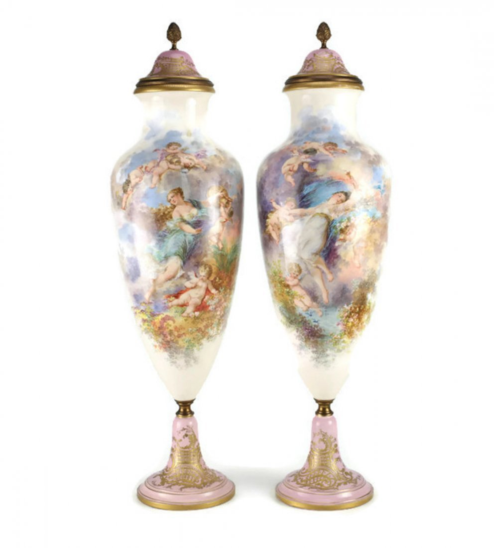 Pair of Sevres Porcelain Lidded Urns 26""