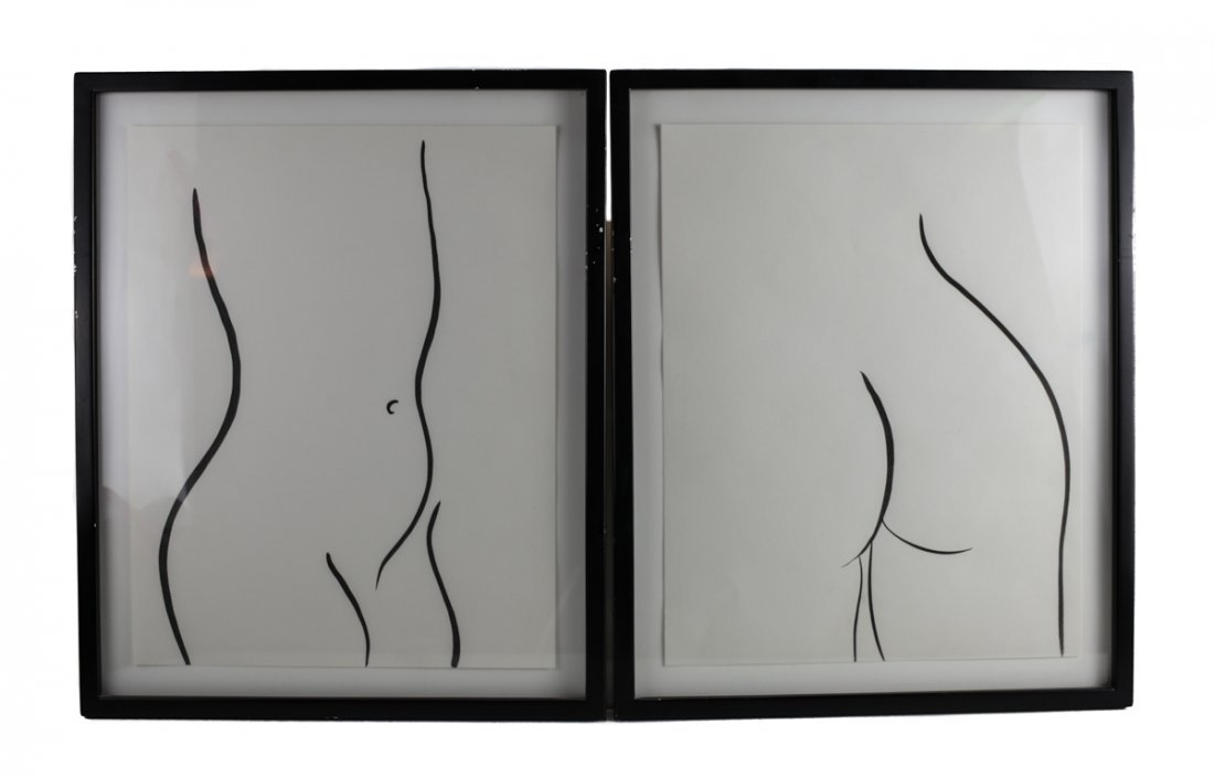Sharon Ryan (Amer, 20th Century) Pair Drawings