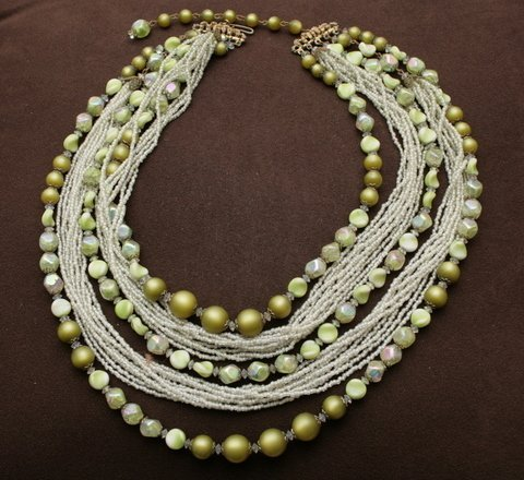 Vintage Earlyl 1940's Hobe Multi Strand Green Necklace