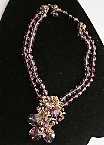 Antique Miriam Haskell Faux Amethyst Necklace
