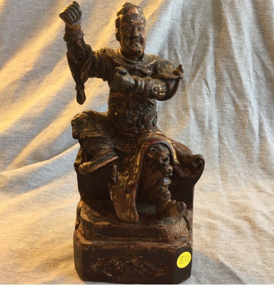 Chinese Ming Dynasty Wood Statue of a Warrior