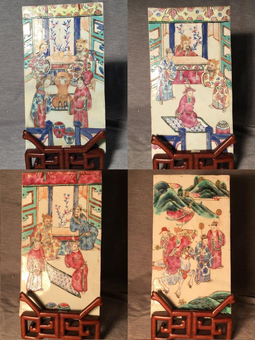 A Set of 4 Chinese Porcelain Plaques from Qing Dynasty
