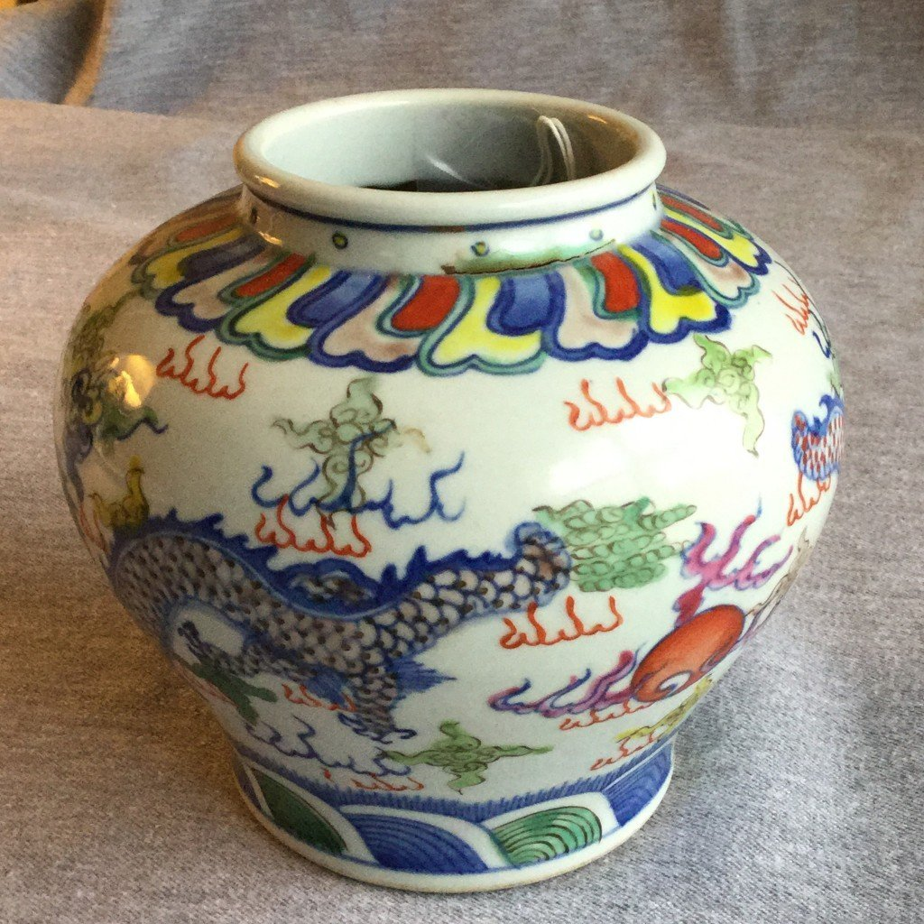 A Chinese doucai jar with foo dogs from Christies