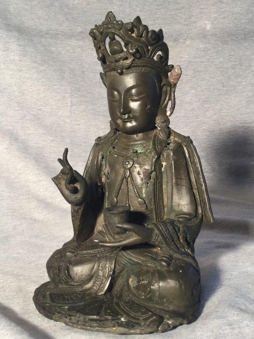 A Chinese Ming Dynasty Bronze Sitting Buddha