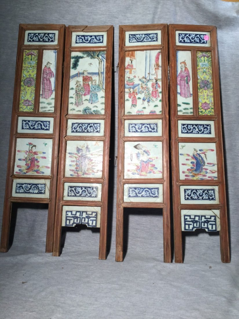 A Chinese Table Screen with Four Porcelain Panels