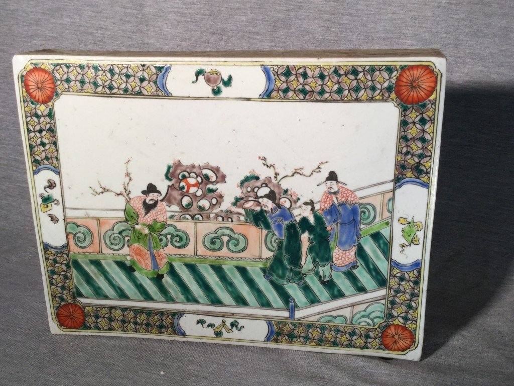 A Chinese Kangxi Style Porcelain Panel or Tile
