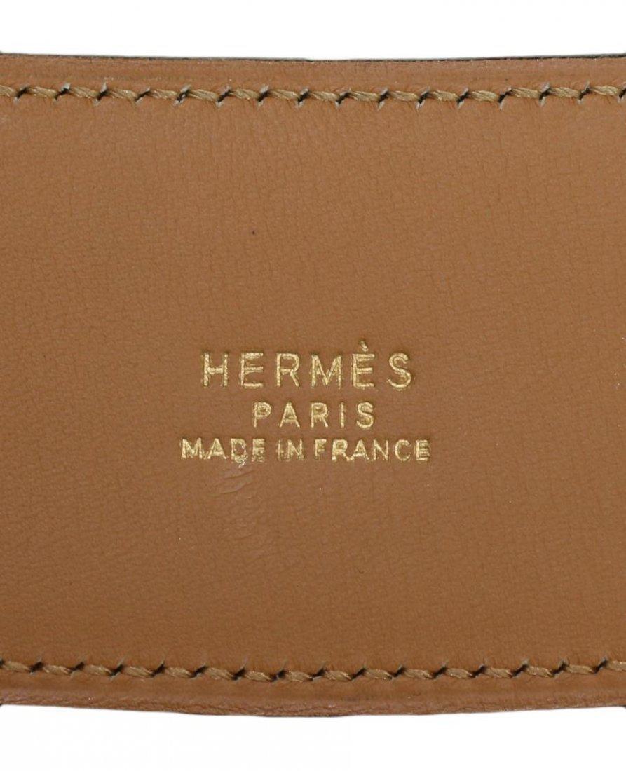 LADIES HERMES CONGNAC & GILT METAL LEATHER BELT - 3
