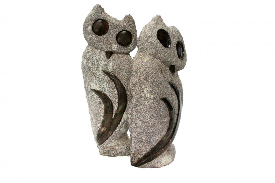 Shona (Zimbabwe) Stone Sculptures: Peeking Owls