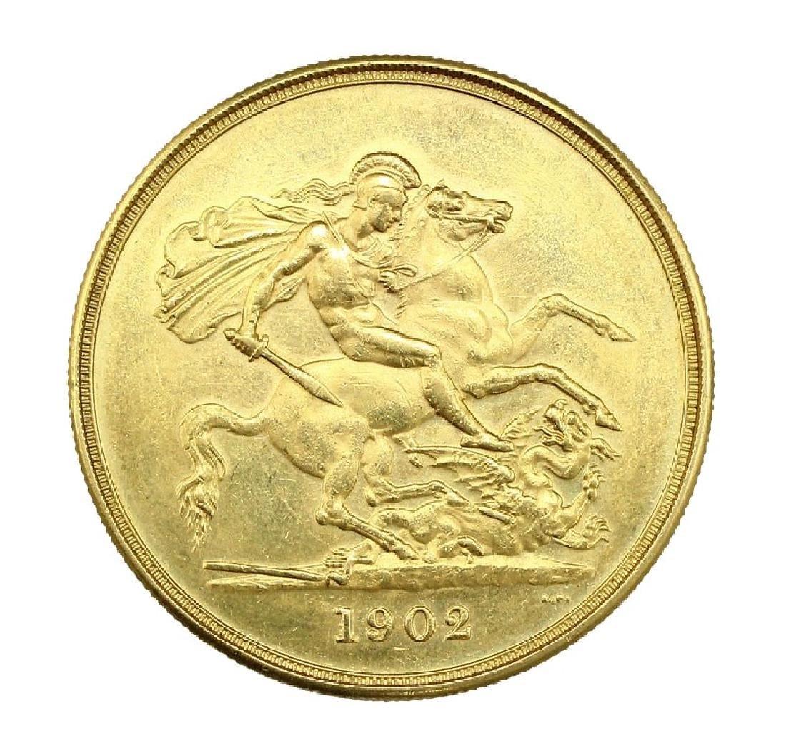 British 1902 £5 Gold Sovereign Coin
