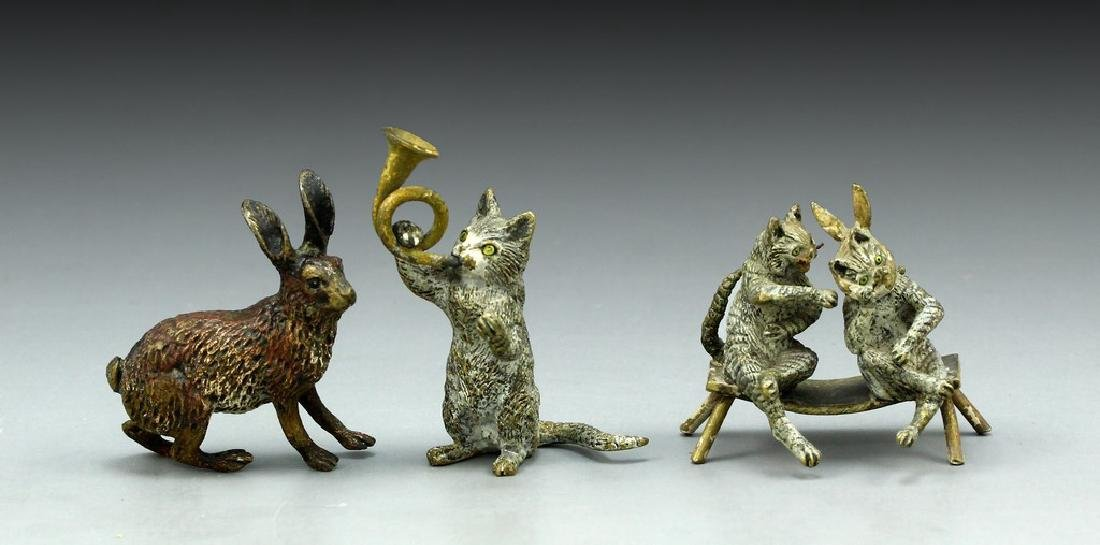 Lot of Viennese Bronze Sculptures - Cats and Rabbit