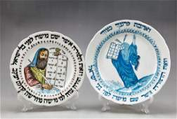 Lot of two Porcelain Plates with PersianJewish