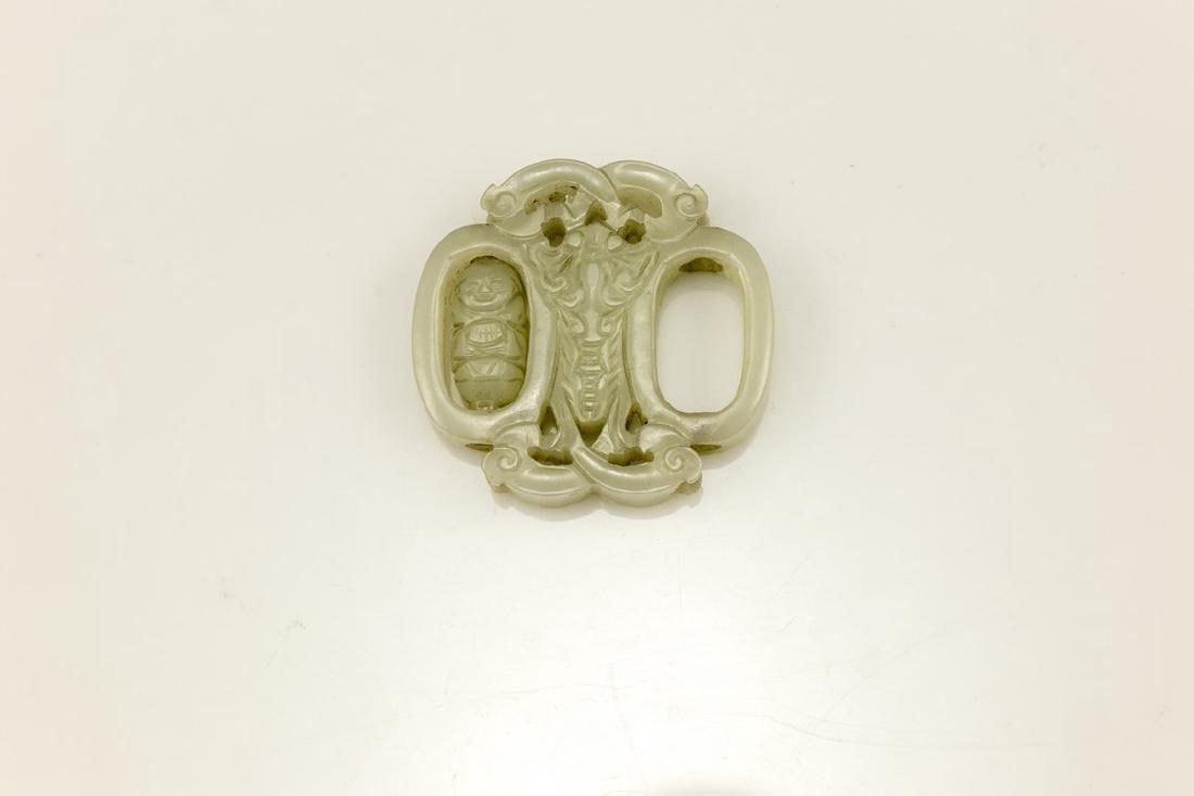 Chinese White Jade Pendant - 2