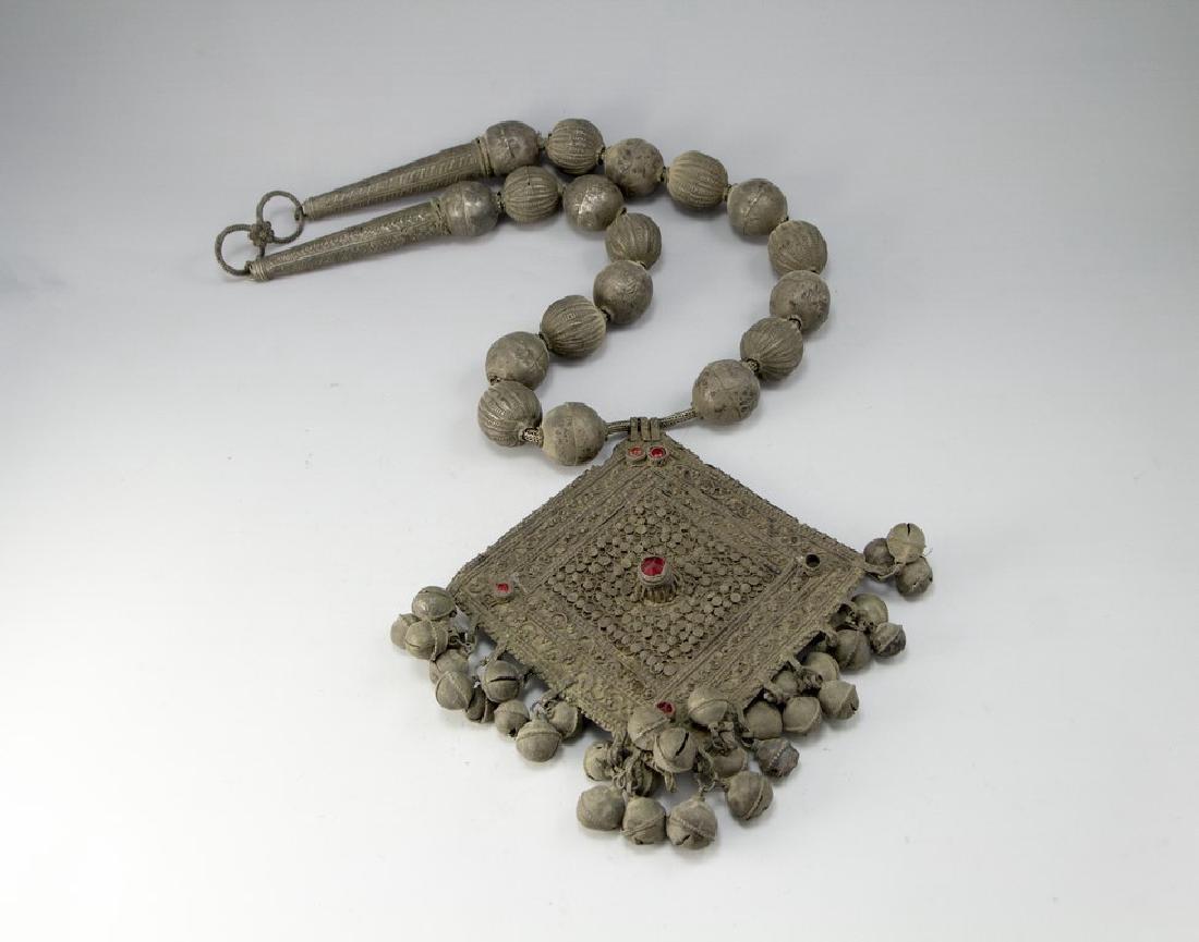 Oversized Ethnic Silver Necklace