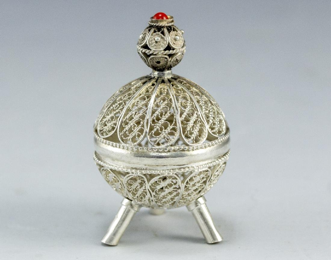 Israeli Silver and Filigree Spice Container