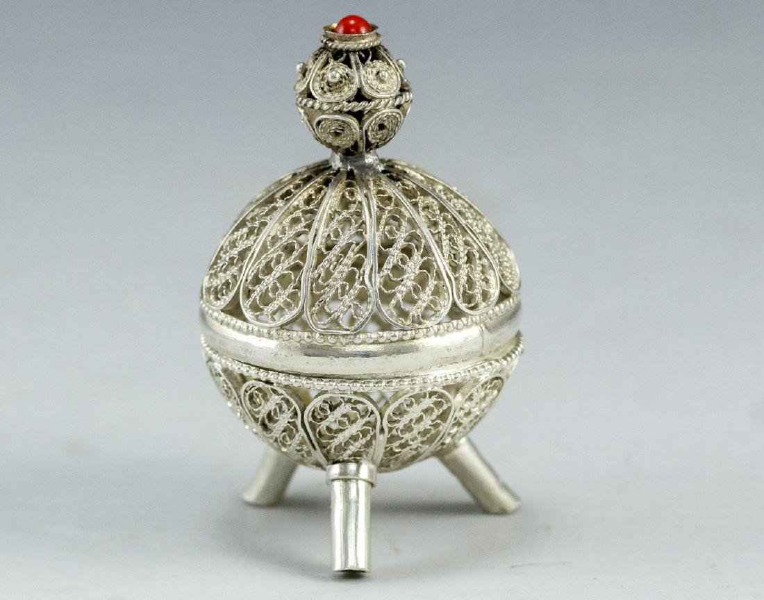 Israeli Silver and Filigree Spice Container - 2
