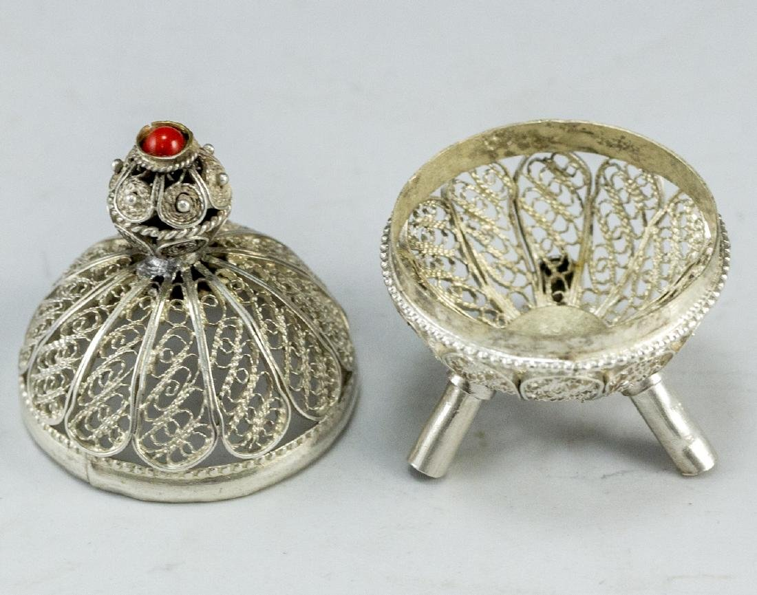 Israeli Silver and Filigree Spice Container - 3