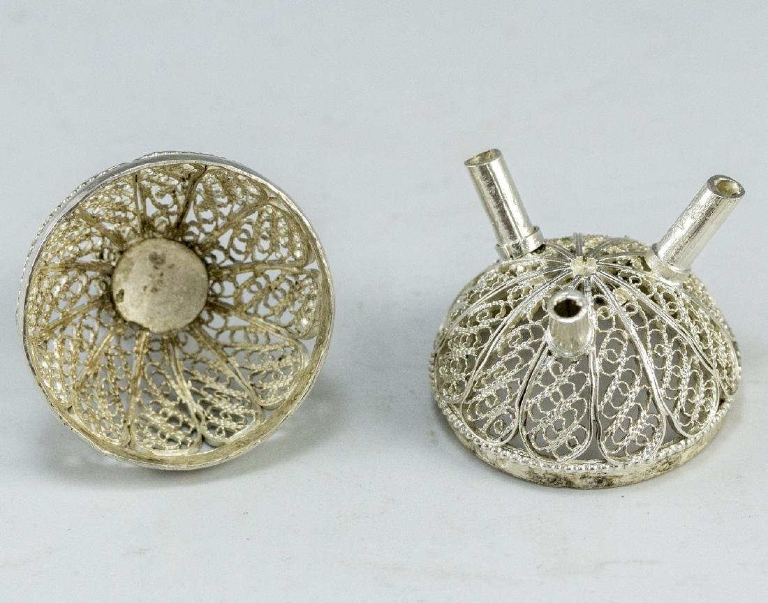 Israeli Silver and Filigree Spice Container - 4