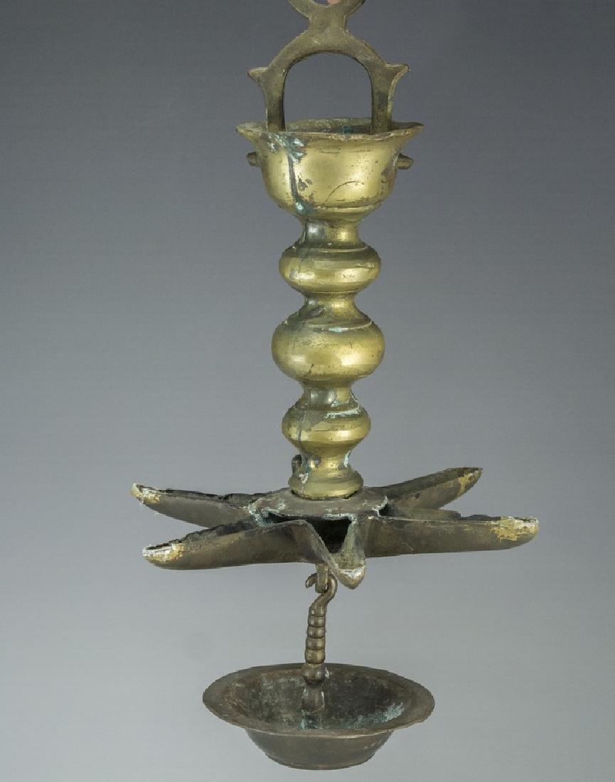 19th Century Jewish Bronze Synagogue Lamp (Judenstern)