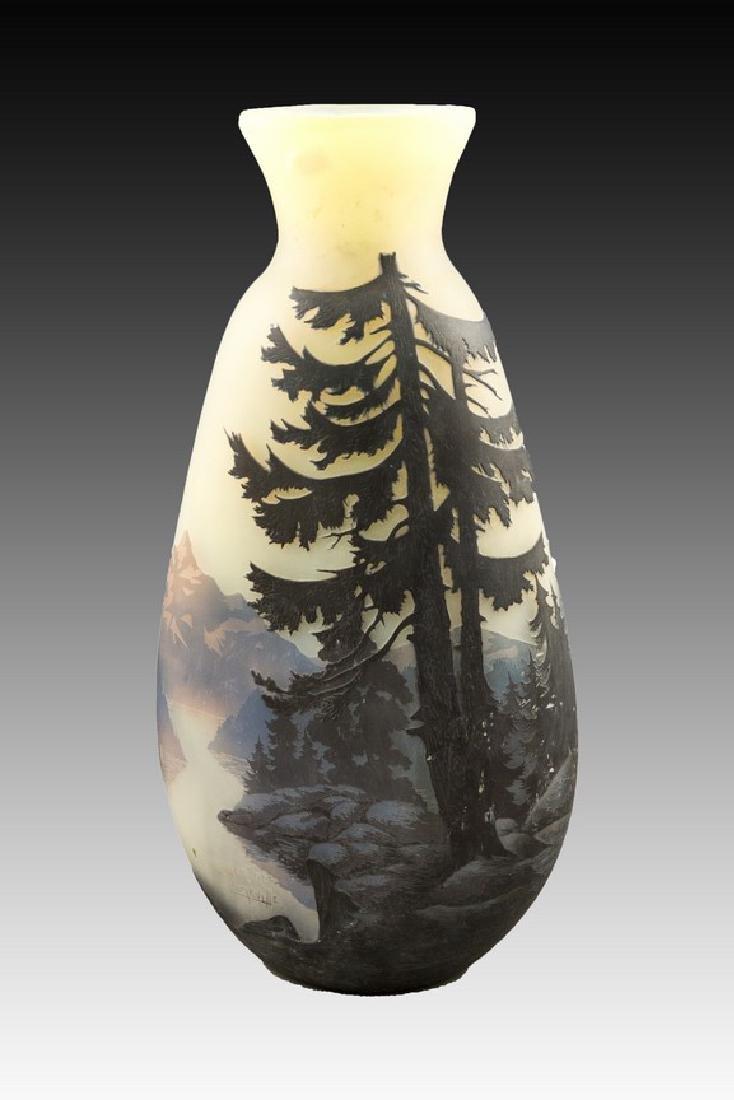 Muller Frères Lunéville Large Cameo Glass Vase