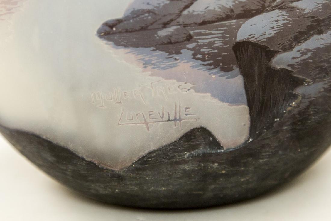 Muller Frères Lunéville Large Cameo Glass Vase - 4