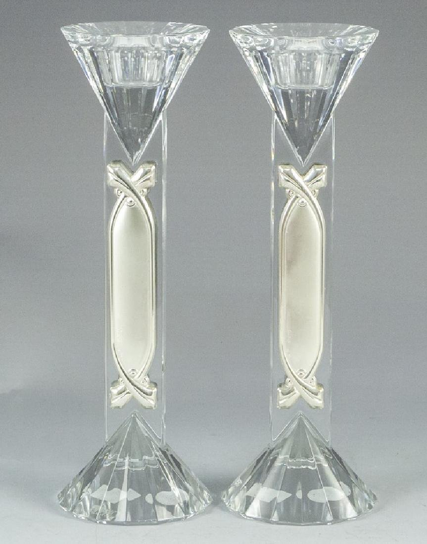 Pair of Crystal and Silver Candlesticks