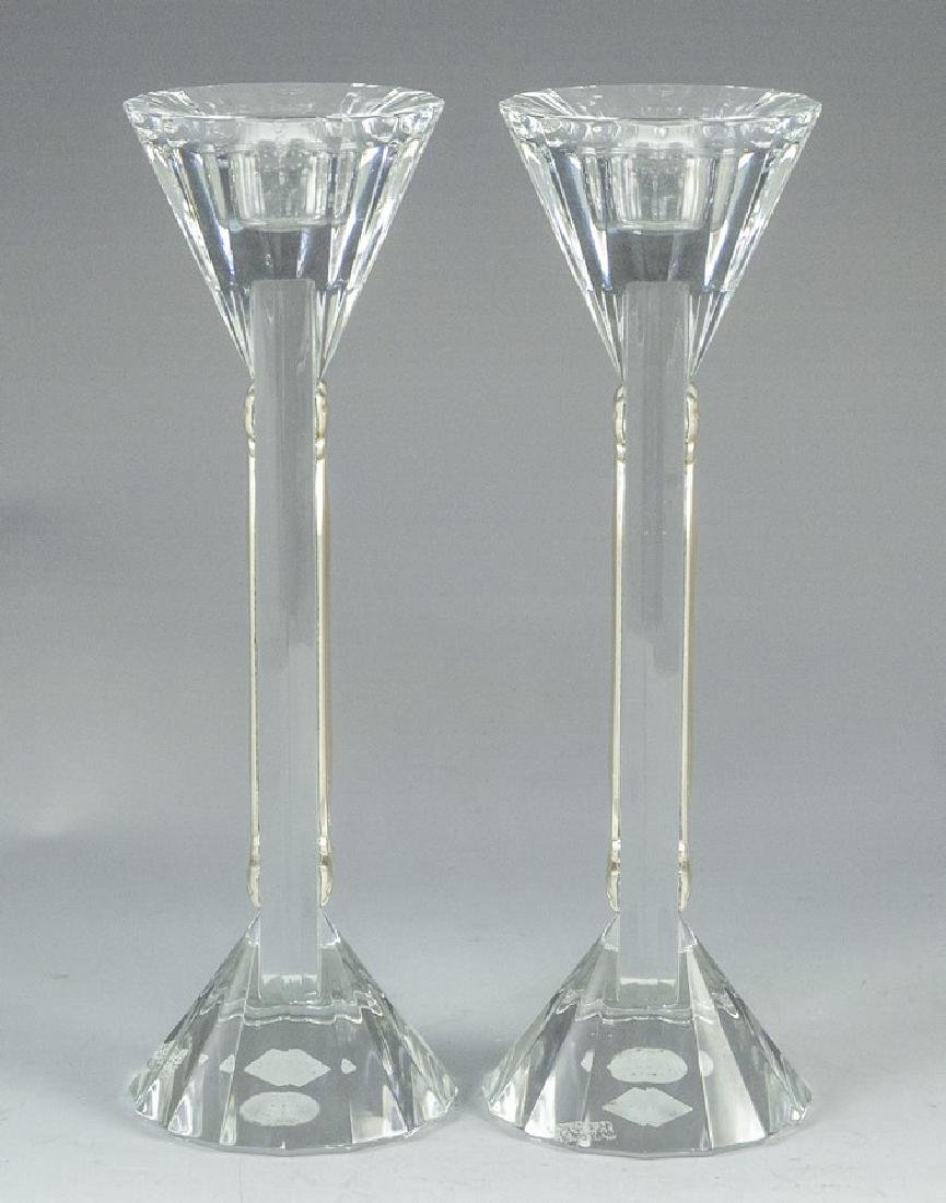 Pair of Crystal and Silver Candlesticks - 2