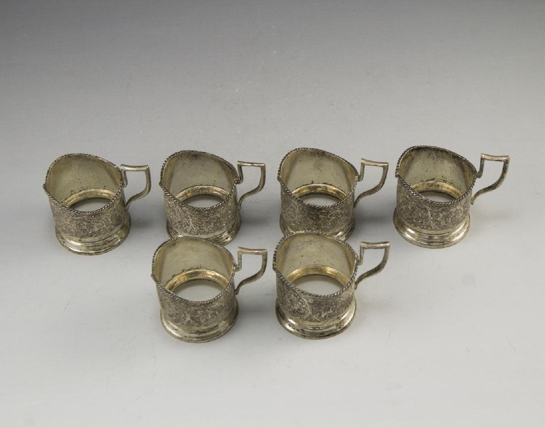 Set of Persian Silver Cup Holders - 3