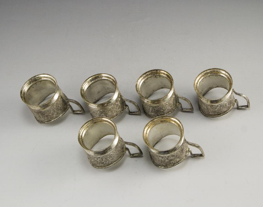 Set of Persian Silver Cup Holders - 5