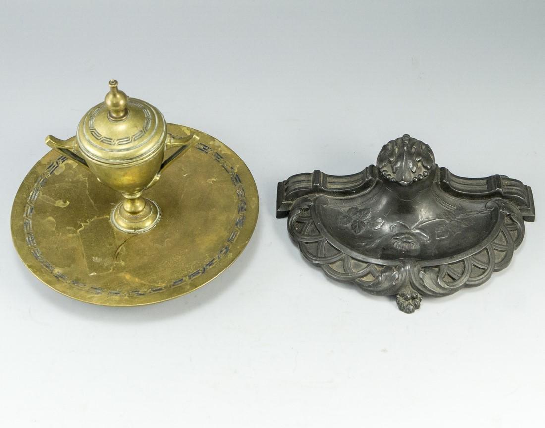Lot of Continental Brass Inkwells