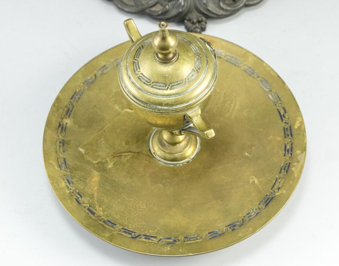 Lot of Continental Brass Inkwells - 4