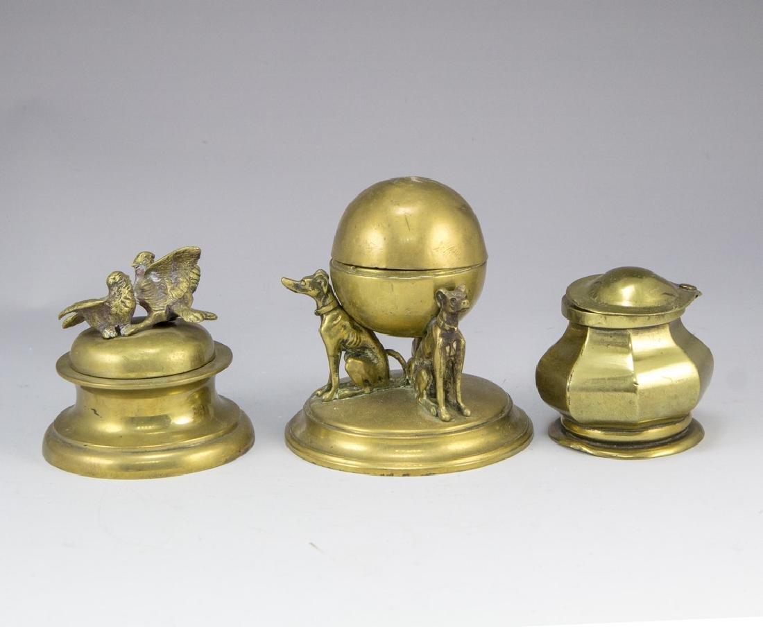 Lot of Brass Inkwells