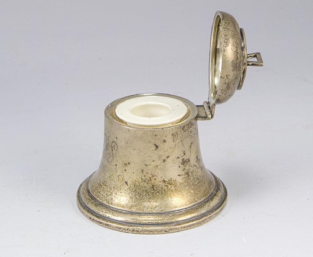 English Silver Inkwell - 3