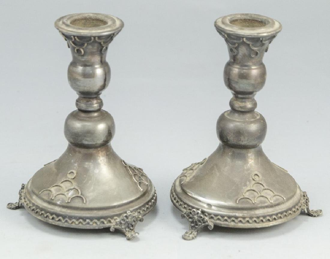 Pair of Silver Shabbat Candlesticks