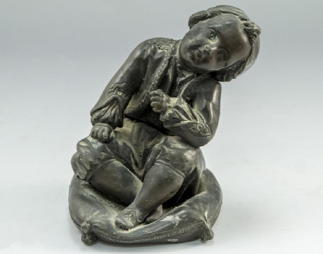Spelter Sculpture - Child on a Pillow