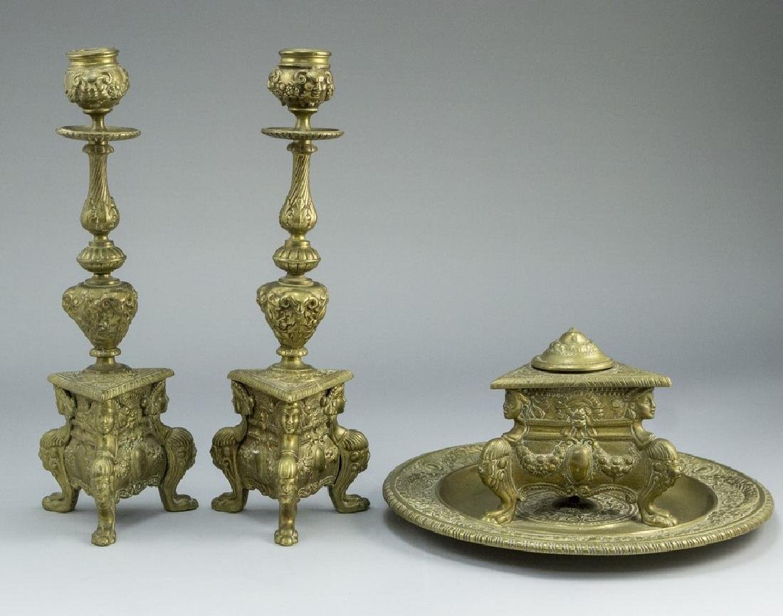 Set of Candlesticks and Inkwell