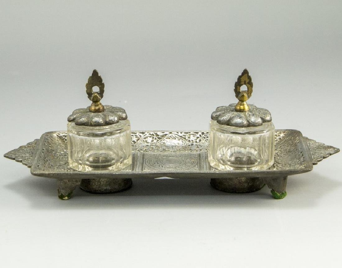 Glass and Pewter Inkwell