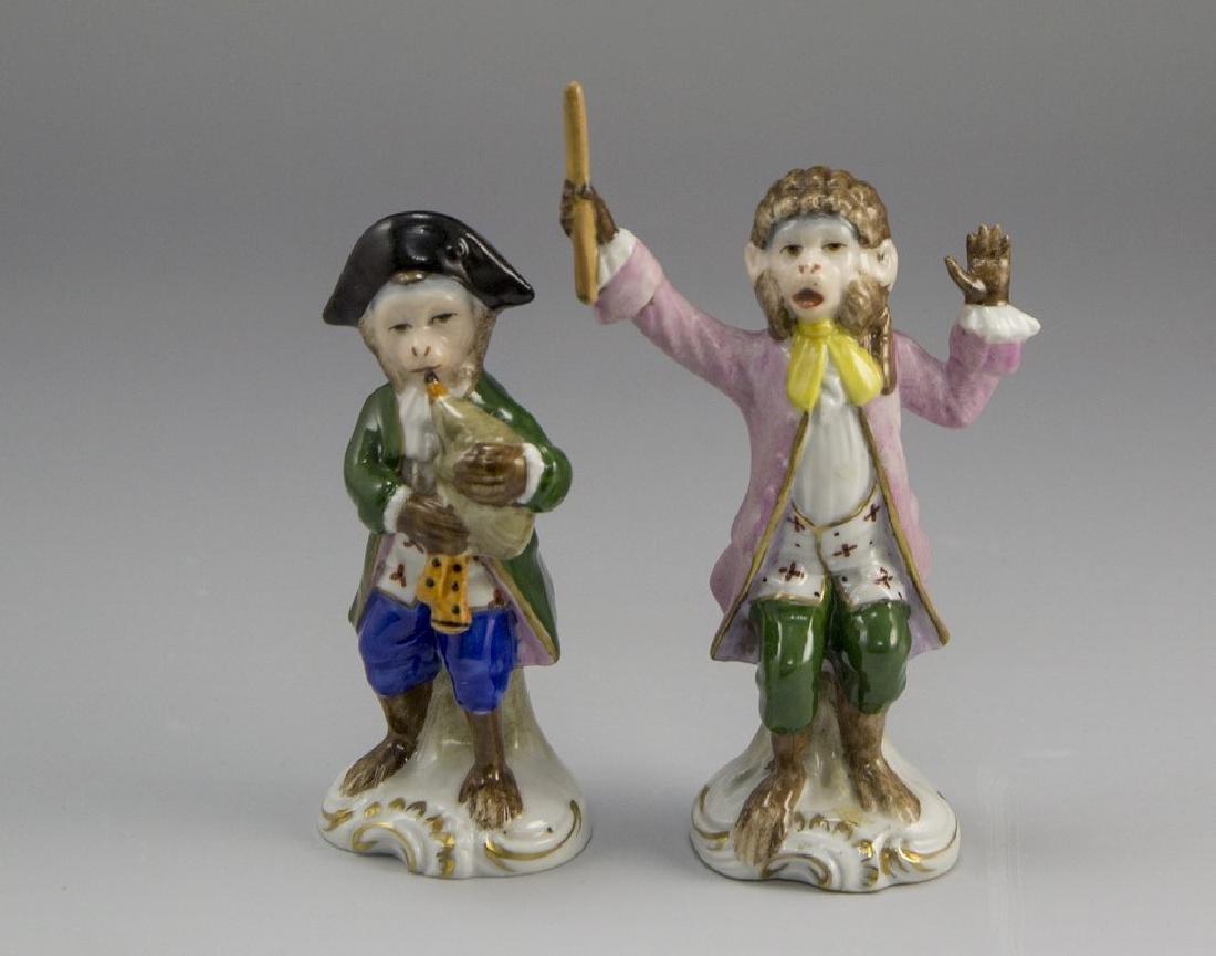 Porcelain Monkey Musician Figurines
