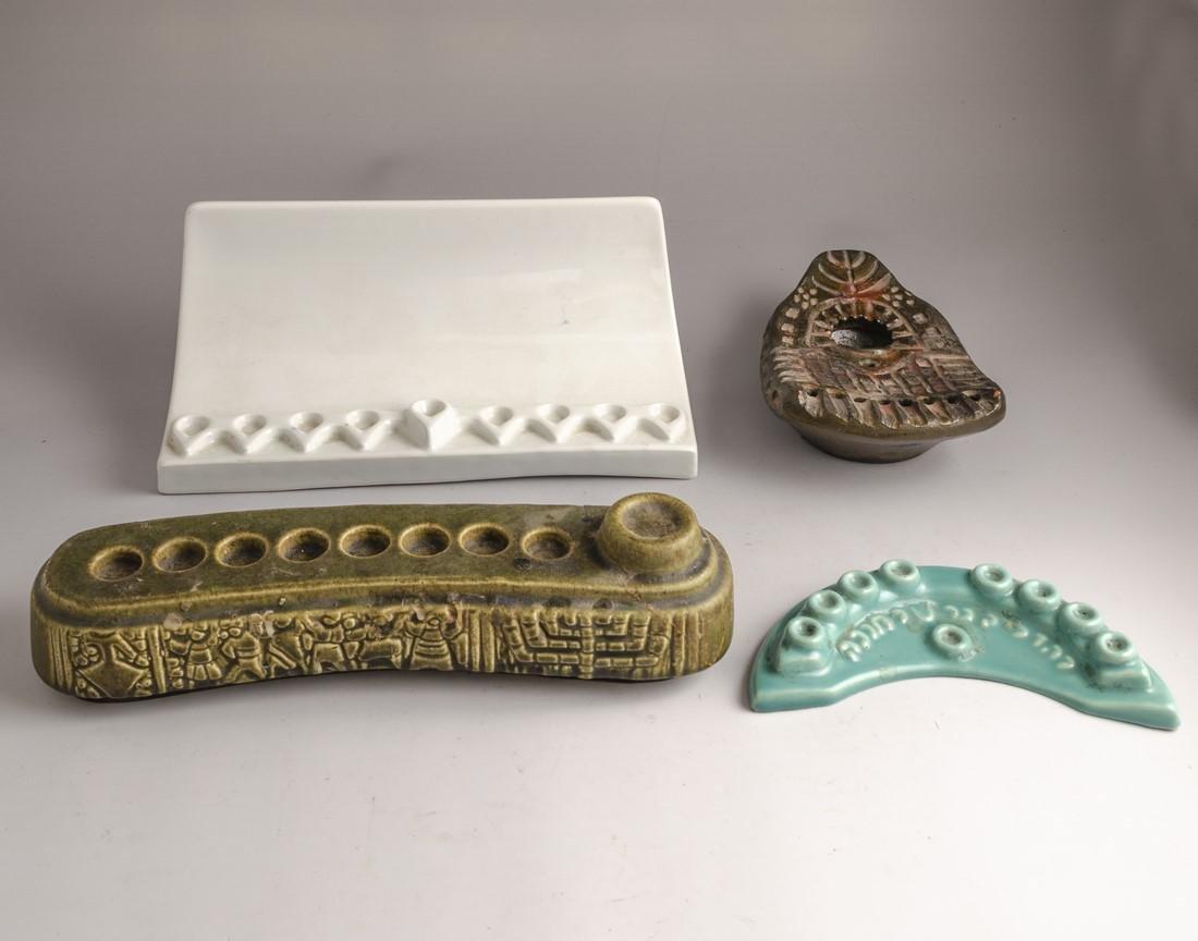Israeli Ceramic Hanukkah Menorahs