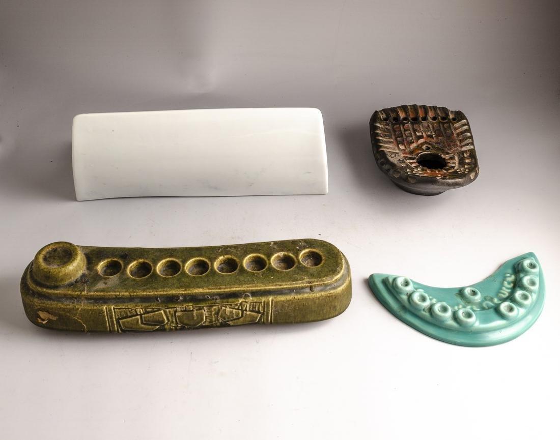 Israeli Ceramic Hanukkah Menorahs - 2