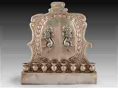Large Silver Hanukkah Menorah