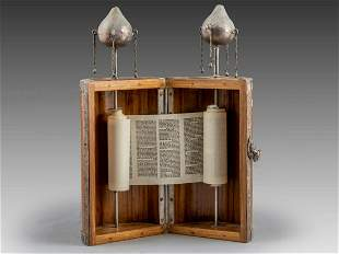 Wood and Silver Torah Case