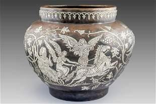 Damascene Brass Bowl Departure of Eliyahu Hanavi
